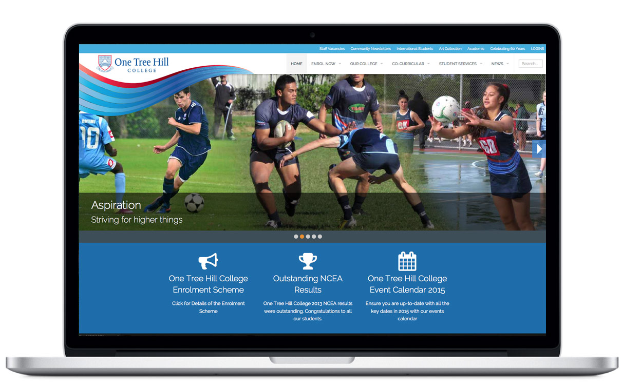 Website design for One Tree Hill College by Illuminate By Design, web development company, Auckland