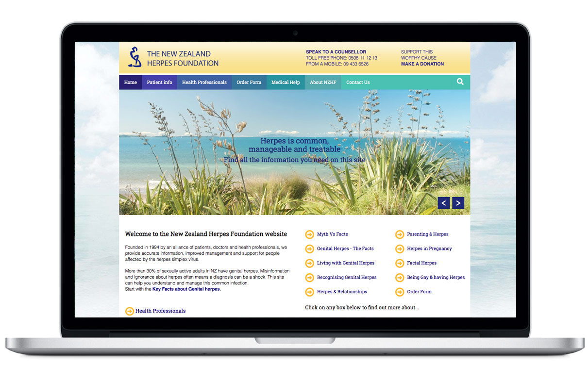 Website development and design for New Zealand Herpes Foundation by Illuminate By Design, website developers Auckland